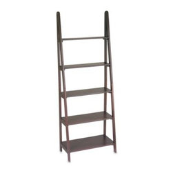 Office Star Products - Espresso Ladder Bookcase - This modern ladder five-shelf bookcase with a handsome espresso finish holds plenty of items for storage and display including books, collectibles, photos, and more. Easy to assemble.