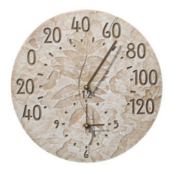 Weathered Limestone Fossil Sumac Thermometer Clock - The Sumac leaves are a spirally arranged flowering plant.  Nature buffs will enjoy this Weathered Limestone Fossil Sumac Thermometer Clock.  Displays the time as well as the temperature in Farenheight.  Hang it on your home for purposeful adornment in symbolic feeling of an era gone by.  You don't have to be an archaeologist to appreciate this fossil.