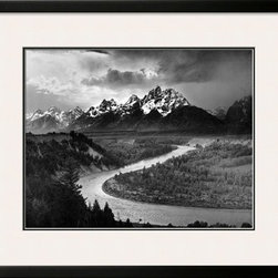 Artcom - Tetons and The Snake River, Grand Teton National Park, c.1942 by Ansel Adams Art - Tetons and The Snake River, Grand Teton National Park, c.1942 by Ansel Adams is a Framed Art Print set with a SOHO Black wood frame and Polar White and Smooth Black matting.