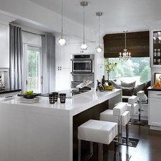 kitchens - gray brown white glossy modern kitchen island small glass island pend