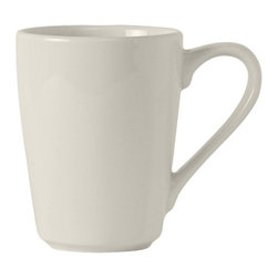 Tuxton - Modena 8 oz Mug Pearl White - Case of 24 - The Modena collection presents beauty and grace. Simple yet elegant lines show off each presentation of culinary artistry.