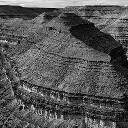 """Goosenecks State Park - Large-Scale, Limited Edition Photography - This fine art photograph captures the majesty of Goosenecks State Park in Southern Utah. It has very dramatic texture and tonal ranges for black and white photography and is jaw-dropping when printed at 48"""" X 18"""""""