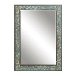 "Uttermost - Venonsa Distressed Blue Green Rectangular Mirror - Frame Features A Heavily Distressed, Aged Blue Green Finish With Antiqued Ivory Details. Mirror Features A Generous 1 1/4"" Bevel. May Be Hung Horizontal Or Vertical. Frame Dimensions: 25.25""W X 35.25""H X 1.625""D; Mirror Dimensions: 20""W X 30""H; Finish: Aged Blue Green; Material: MDF; Beveled: Yes; Shape: Rectangular; Weight: 26; Included: Brackets, Ready to Hang Vertically or Horizontally"