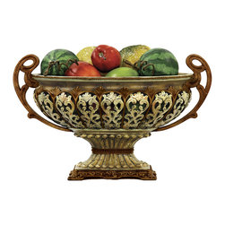 Sterling Industries - Sterling Sheaffer Faux Alabaster Display Bowl - Add romance, grace and elegance to a tabletop display on a buffet server or as a centerpiece on the dining room table with the sheaffer alabaster decorative display bowl by Sterling. A footed pedestal elevates a highly decorative bowl with ornate handles and dimensional filigree motifs. Traditional styling in an aged finish of creams, gold, and browns, the sheaffer decorative display bowl will add a touch of elegance in your living room, bedroom, dining room, or any room in your home. Display dried flowers, fruits, or ornamental balls in high style.
