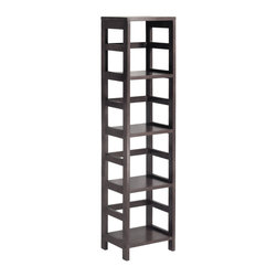 Winsome Wood - Winsome Wood Leo Shelf w/ 4-Tier - Shelf w/ 4-Tier belongs to Leo Collection by Winsome Wood With its classic, sturdy design, this elegant shelving unit fulfills both style and functional requirements. Its four sections hold the Espresso Small Storage Basket perfectly. Mix and match with the other Espresso Storage Shelves. Shelf (1)
