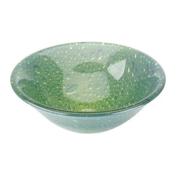 Renovators Supply - Vessel Sinks Green Glass Lily Pad Vessel Sink Hat Shape - Glass Vessel Sinks: Double Layer Tempered glass sinks are five times stronger than glass, 3/4 inch thick, withstand up to 350 F degrees,  can resist moderate to high degrees of impact & are stain���proof. Ready to install this package includes FREE 100% solid brass chrome-plated pop-up drain, FREE machined 100% solid brass chrome-plated mounting ring & silicone gasket.  Measures 16 1/4 in. dia. x 5 1/2 in. deep x 3/4 in. thick.