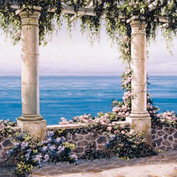 Murals Your Way - Mediterranean Terrace 2 Wall Art - Add some atmosphere to your home with a wall mural reflecting the charm of the Mediterranean. A blue ocean view is framed by a pair of marble columns.
