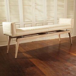 """Global Views - Global Views Quilted Ivory City Bench - Edgy sophistication reigns supreme when ivory leather meets faux bois detailing on the statement-making Global Views City bench. Perched upon American white oak wood legs and accented with nickel details, the seat's mid-century modern vibe delivers contemporary drama to a hallway or bedroom. 17""""W x 67""""D x 26""""H; Ivory quilted cowhide leather; American white oak finished with brushed washed finish; Polished nickel details; Made of natural materials and shipped with recyclable packaging"""