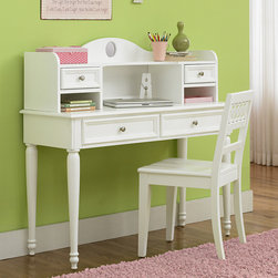 None - Youth White 3-piece Student Desk Set - Satin nickel knobs and a linen white finish give this children's desk a clean, charming finishing touch. Designed with durable poplar and pine solids, this desk, chair and hutch set is a simple addition to any bedroom or playroom.