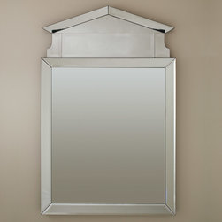 "Global Views - Global Views Governor's Palace Mirror - The Global Views Governor's Palace mirror casts a regal presence through modern lines embellished by an angled top. Finished entirely in glass, its elegant reflection represents seamless sophistication. 36""W x 2""D x 56""H; Includes metal wall cleat for hanging; Made of natural materials and shipped with recyclable packaging"