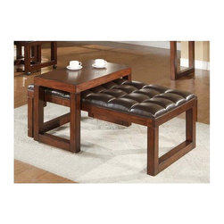 Alpine Furniture - Tiburon Upholstered Ottoman w Sliding Table - Six months warranty. Made from rubber wood solids and ash veneer. Medium brown finish. Made in Vietnam. 50 in. W x 31.5 in. D x 21 in. H