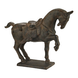 Sterling Industries - Sterling Industries 148-009 Ming Horse Decor in Antique Bronze - This Cast Iron Horse Is A Replica Of A Ming Dynasty Scuplture. The Ming Dynasty Ruled China From 1368 - 1644 And Bread These Horses To Meet The Needs Of Their Empire. An Era Of Cultural Restoration In China They Honored The Horses In Sculpture.