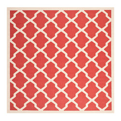 Safavieh - Courtyard Red and Bone Square: 7 Ft. 10 In. x 7 Ft. 10 In. Rug - - Safavieh takes classic beauty outside of the home with the launch of their Courtyard Collection. Made in Turkey with enhanced polypropylene for extra durability these rugs are suitable for anywhere inside or outside of the house. To achieve more intricate and elaborate details in the designs Safavieh used a specially-developed sisal weave  - Pile Height: 0.25  - Construction: Machine Made  - Easy to Clean?Just sweep vacuum or rinse off with a garden hose. Safavieh - CY6903-248-8SQ