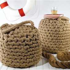 Beach Style Footstools And Ottomans Nautical Luxuries Coastal Decor & Gifts - Seafarer's Rope Ottoman