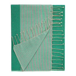 Nine Space - Aegean Fouta Towel, Emerald - Woven from pure Turkish cotton that only becomes softer over time, this towel is a modern interpretation of a traditional fouta, originally used in Turkish bath houses. Use it as a chic beach wrap or towel, a colorful throw or as a whimsical table covering.