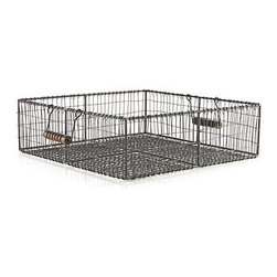 Filo Wire Basket with Wood Handles - Square metalwork basket is handcrafted of iron wire resulting in a casual weave that distinguishes this storage solution with friendly, artisan appeal. Wooden handles add a touch of charm.
