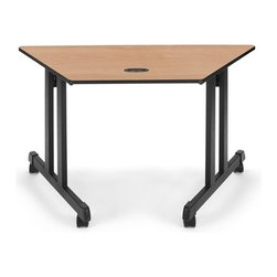 OFM - OFM Trapezoid Multi-use Table 24 x 48, Black - Thermo fused melamine tops