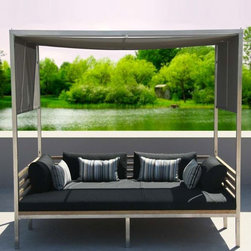 Recycled Teak Daybed with Shade Canopy - The Bogard daybed has an adjustable canopy and is constructed of recycled teak.