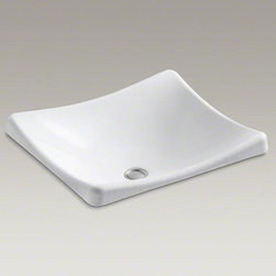 KOHLER White Demilav® Wading Pool® Bathroom Sink - Delicately sloping lines and a squared-off silhouette give the DemiLav Wading Pool sink a distinctive, contemporary style that sets it apart from traditional designs. The shallow basin depth creates a sleek focal point in your bathroom.