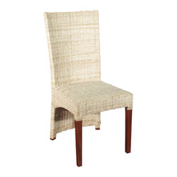 Solid Mahogany Woven Wicker Occasional Parson Side Chair w/ Padded Seat - This product is finely constructed from top grade kiln-dried Solid Mahogany. Artisans use the old world method of tongue and groove and mortise and tenon joinery to create this beautiful and durable piece of furniture. Its superb hand-crafted quality will add a touch of elegance to your home.