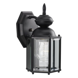 Progress Lighting - Progress Lighting P5756-31 BrassGuard Lantern Series Single-Light Small Black - Wall lantern with beveled glass panels. Open bottom.Features: