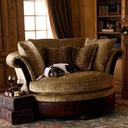 """Massoud - Massoud """"Coca Wildlife"""" Cuddle Chair - Exclusively ours. Escape into the embrace of a chenille chair while surrounding yourself with silk and velvet throw pillows plumped with goose down. You won't want to leave. USA made. 73""""W x 65""""D x 41""""T."""
