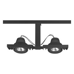 Juno Lighting - Trac-Master T819 Framed Duo-Enclosed Low Voltage MR16 Track Light, T819bl - The concentric gimbal rings springing off the bottom edge of the chiseled monolith is a perfect example of ���form follows function� in design. The monolith remains perfectly aligned with the trac while the gimbal ring mechanisms are free to provide broad aiming capability.