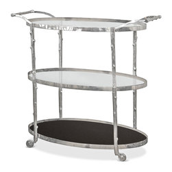 Kathy Kuo Home - Vineyard Hollywood Regency Three Shelf Nickel Bar Cart - Three large shelves, two of clear glass and the bottom of solid black granite, offer ample space for serving refreshments in sophisticated style. Crafted from solid brass, the frame is finished in polished nickel to resemble tree branches. Four brass, nickel-plated wheels and two long handles make the cart as portable as it is pretty.