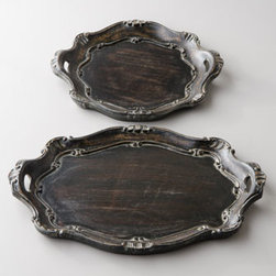 """Sezzatini - Sezzatini Black """"Baroque"""" Charger Plates - Hand-painted charger plates with convenient side handles add a decidedly finishing touch to your tablescapes. Made of wood composite. Oval charger plate, 13"""" x 18.5"""". Round charger plate, 14""""Dia. Handcrafted in Italy."""
