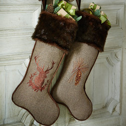 """Horchow - Christmas Stocking with Faux-Fur Cuff - Christmas Stocking with Faux-Fur CuffDetailsMade of polyester.Available embellished with deer design or pine cone design; select style when ordering.Sold individually; each 12""""W x 27""""T.Imported."""