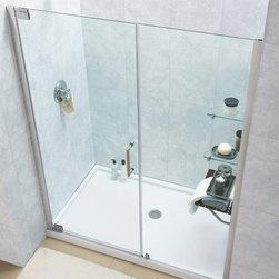 "DreamLine - DreamLine DL-6203C-04CL Elegance Shower Door & Base - DreamLine Elegance Frameless Pivot Shower Door and SlimLine 30"" by 60"" Single Threshold Shower Base Center Drain"