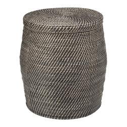 KOUBOO - Round Rattan Storage Stool, Black Wash - Diameter 16 inches x 18.5 inches high.