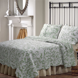 None - Felicity 3-piece Quilt Set - With scrolling bold splashes of color in an updated damask motif, the Felicity quilt set reverses to an all-over coordinating print. The quilt has scalloped edges and is oversized for better coverage on today's deeper mattresses.