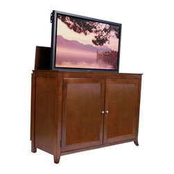 """Berkeley TV Lift Cabinet For Flat Screen TV's Up To 55"""" - The Berkeley is constructed with clean and simple design features in mind and finished in a rich medium cherry wood. The Berkeley turns heads and makes any living room, entertainment area, den or man cave really stand out."""