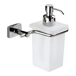 Gedy - Wall Mounted Frosted Glass Soap Dispenser With Chrome Mounting - Contemporary style wall mounted square hand soap dispenser.