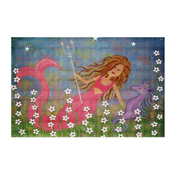 DiaNoche Designs - Neptunes Treasure Area Rug - Finish off your bedroom or living space with a woven Area Rug with Chevron pattern  from DiaNoche Designs. The last true accent in your home decor that really ties the room together. Maybe its a subtle rug for your entry way, or a conversation piece in your living area, your floor art will continue to dazzle for many years. 1/4 thick. Each rug is machine loomed, washed and pre-shrunk, printed, then hemmed on the edges.   Spot treat with warm water or professionally clean. Dye Sublimation printing adheres the ink to the material for long life and durability