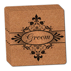 """Made on Terra - Groom on Floral Pattern Mr Man His Husband Thin Cork Coaster Set of 4 - You're just cleaning up after your epic party when you realize it... something's different. Unlike all those other times, you're not mopping up cup condensation from your counters and tables. This time, everyone used a coaster. Everyone. Maybe it's because you handed out a coaster with every glass. No. You've tried that before. No, this time it's because of the actual coasters. You found the cutest Made On Terra printed cork coasters. You love that everyone commented on how unique they were,  from the light-weight, thin cork material to the printing that creates a cool and subtle effect. Plus, they're really absorbent, but dry quickly. And they're made from an eco-friendly, sustainable resource, so that makes you feel pretty great, too. Choose from Made on Terra's many fabulous cork coasters. Measures 4"""" x 4"""" x 1/8"""". Made of thin cork. Super cute and nicely absorbent. Sold in sets of four."""