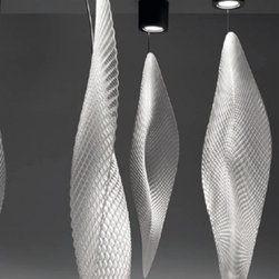 """Artemide - Artemide Cosmic Leaf ceiling - Product Details:  The brand new Cosmic Leaf ceiling light by Artemide is designed by Ross Lovegrove. This beautiful fixture has a methacrylate textured transparent diffuser that is simply breath-taking. The structure is made of chromed steel and the canopy is in light grey brushed aluminum. This fixture mountes to a standard junction box and the 100w bulb is included.  Details:      Manufacturer:     Artemide      Designer:    Ross Lovegrove      Made in:    Italy      Dimensions:     Height: 75 5/8"""" (192 cm) X Width: 15"""" (38cm) X Diameter: 8 11/16"""" (22 cm)      Light bulb:     1x 100W G53/AR111 (included)      Material:     SemiBrushed aluminum, chromed steel and Methacrylate diffuser"""