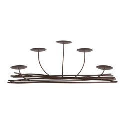 "Tag LTD - Woodlands Fireplace Candelabra - Metal with antique bronze power-coated finish. Holds five 3"" pillar candles."