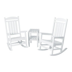 Polywood - 3-Piece Eco-friendly Rocker Set in White - Solid, heavy-duty construction withstands natures elements. Stately enough for the Oval Office but much more charming on your deck or front porch, the Polywood Presidential 3-Piece Rocker Set is timeless in design and unmatched in comfort. Polywood lumber requires no painting, staining, waterproofing, or similar maintenance. It does not splinter, crack, chip, peel or rot and it is resistant to corrosive substances, insects, fungi, salt spray and other environmental stresses.
