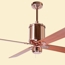 Period Arts Fan Company - Period Arts Industry Ceiling Fan - In keeping with its self-evident design, the Industry fan is offered in a rough galvanized finish, a textured rust faux-finish and a carefully polished plated copper luster. Modern motor design, energy-saving light options and electronic controls insure that this century-old look fits your home of today.