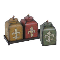 Sterling Industries - Sterling Industries Fleur De Lis Boxes Set of 3 X-5040-15 - A simple rectangular frame supports the three coordinating vessels on this Sterling Industries Fleur De Lis box set. Each box features a fleur de lis finial and comes in a different color. The boxes also feature distressing to the finishes, which aids in creating a vintage charm.