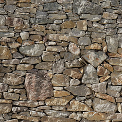 """Komar - Stone Wall Mural - This mural is 12'1"""" x 8'4"""" and comes as eight easy to install panels. Made in Germany. Roll Coverage: 100.69 square feet. Paste Included."""