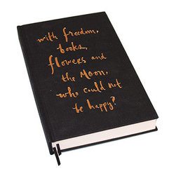 "Kate Spade - Kate Spade Black Journal - In this lovely black book cloth journal you will want to write down your thoughts, because thoughts really do become things, especially when written down. The journal front cover, in gold foil reads  "" with freedom, books, flowers and the moon, who could not be happy?"".  Write happy.  300 Lined pages, 6 ribbon bookmarks to organize your thoughts. 8"" x 5"""