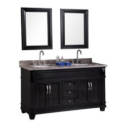 "Design Element - Design Element DEC059C Hudson 60"" Double Sink Vanity Set in Espresso - Design Element DEC059C Hudson 60"" Double Sink Vanity Set in Espresso"