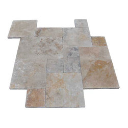 """French Pattern Country Classic Travertine Pavers - Tumbled - Our PREMIUM SELECT Tumbled French Pattern Country Classic Travertine Pavers have a walnut background with a mixture of light gold, dark brown and light blue ink tones. There is significant movement throughout and a high variation is to be expected. Country Classic Travertine French pattern consists of 8x8, 8x16, 16x16, 16x24 sizes. 1.25"""" thick."""