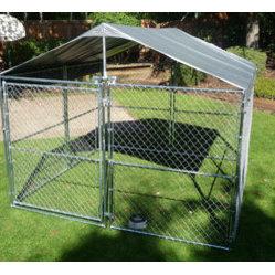 Jewett-Cameron Companies - Weatherguard™ Universal 10'W x 10'L Kennel Cover Plus with Frame - The Lucky Dog™ 2 in 1 Kennel Cover Plus, provides your pet with comfort, shade and protection from the sun. Fits all kennel dimensions of 10'x10 and 5'x10'.