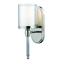 Bathroom Sconce, 1 Light Chrome Matte Opal Glass Inside and Clear Outside Glass - Small in size but not in style, this modern wall mount provides any room with more than just a touch of class and is versatile enough for use as a vanity or for just around the house. The modern double-layered shade consisting of an inner layer of matte opal glass and an outer level of clear glass provide sophistication while the chrome wall mount includes a beautiful crystal column, perfect for providing any room with the ultimate modern look.