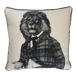 Ain't Lion Pillow - This handsome fellow gives bedding and favorite chairs a whole new look. His whimsical and well-dressed portrait sits against a creamy background that's easy to style.