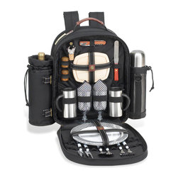 Picnic at Ascot - Classic Coffee Picnic Backpack for Two - Features: